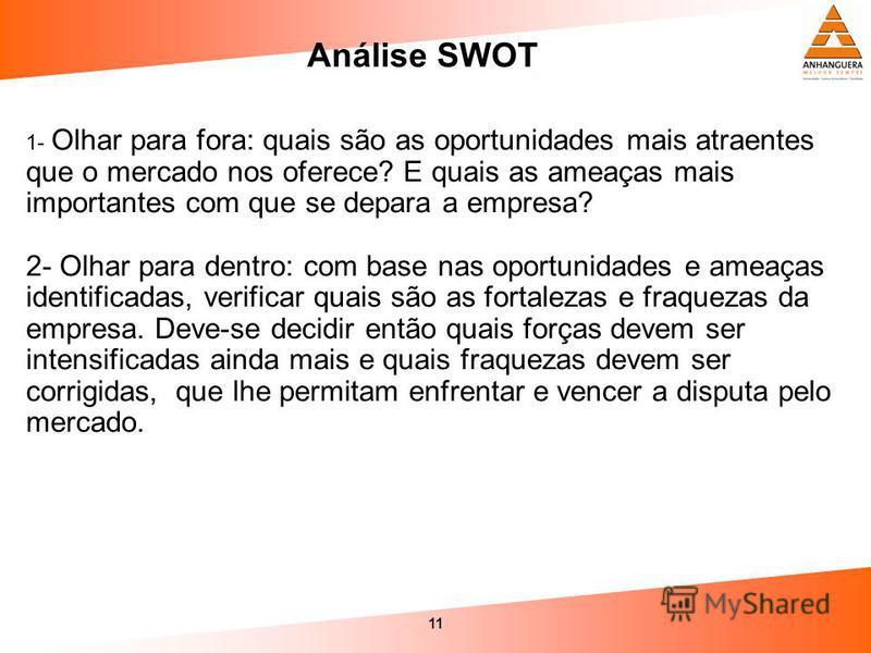 11 Análise SWOT 1- Olhar para fora: quais são as oportunidades mais atraentes que o mercado nos oferece? E quais as ameaças mais importantes com que se depara a empresa? 2- Olhar para dentro: com base nas oportunidades e ameaças identificadas, verifi