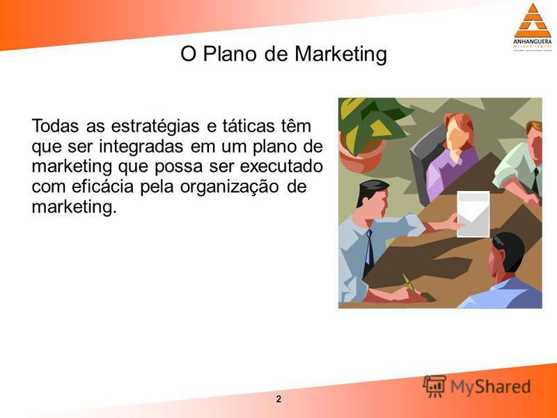 2 Todas as estratégias e táticas têm que ser integradas em um plano de marketing que possa ser executado com eficácia pela organização de marketing. O Plano de Marketing