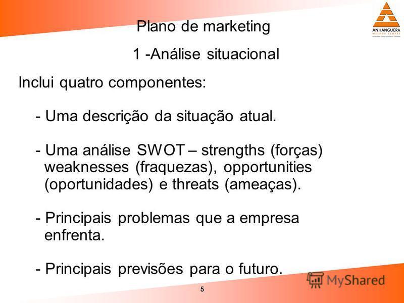 5 Inclui quatro componentes: - Uma descrição da situação atual. - Uma análise SWOT – strengths (forças) weaknesses (fraquezas), opportunities (oportunidades) e threats (ameaças). - Principais problemas que a empresa enfrenta. - Principais previsões p