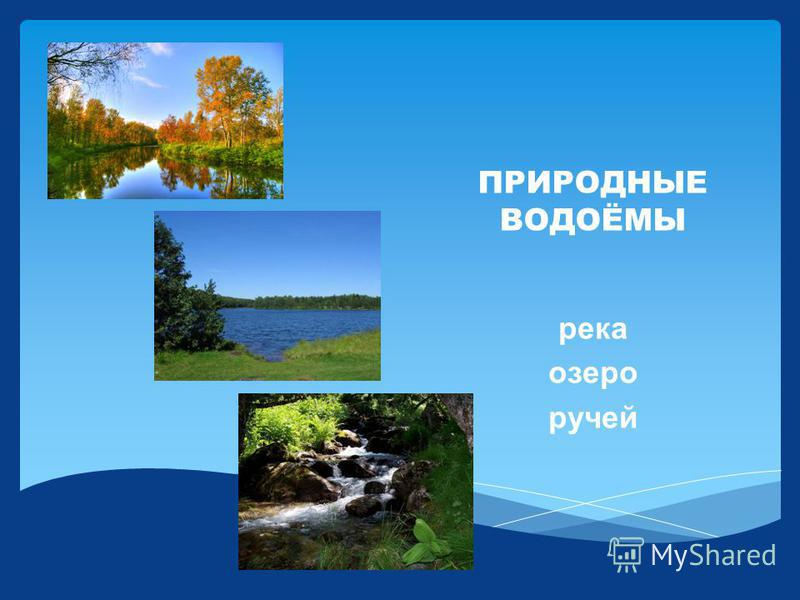 ПРИРОДНЫЕ ВОДОЁМЫ река озеро ручей