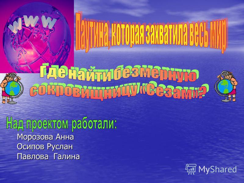 Морозова Анна Осипов Руслан Павлова Галина