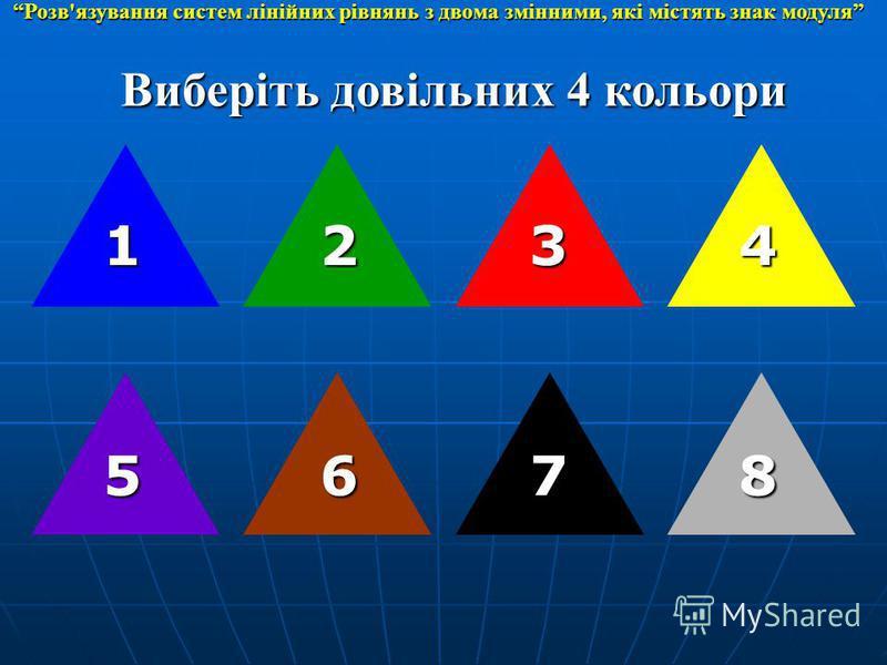Виберіть довільних 4 кольори 1 8 234 765 Розв'язування систем лінійних рівнянь з двома змінними, які містять знак модуля