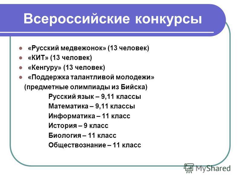 Всероссийские конкурсы «Русский медвежонок» (13 человек) «КИТ» (13 человек) «Кенгуру» (13 человек) «Поддержка талантливой молодежи» (предметные олимпиады из Бийска) Русский язык – 9,11 классы Математика – 9,11 классы Информатика – 11 класс История –