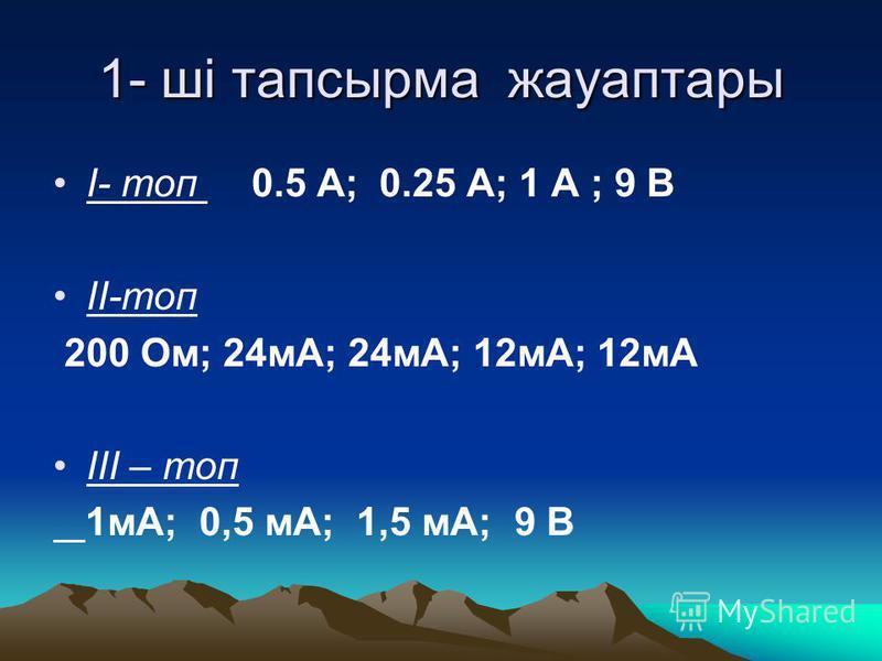 1- ші тапсырма жауаптары І- топ 0.5 A; 0.25 A; 1 A ; 9 B ІІ-топ 200 Oм; 24мА; 24мА; 12мА; 12мА ІІІ – топ 1мА; 0,5 мА; 1,5 мА; 9 В