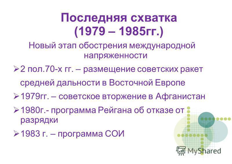 Последняя схватка (1979 – 1985 гг.) Новый этап обострения международной напряженности 2 пол.70-х гг. – размещение советских ракет средней дальности в Восточной Европе 1979 гг. – советское вторжение в Афганистан 1980 г.- программа Рейгана об отказе от
