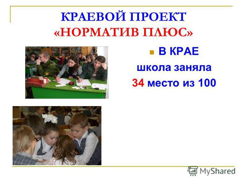 КРАЕВОЙ ПРОЕКТ «НОРМАТИВ ПЛЮС» В КРАЕ школа заняла 34 место из 100