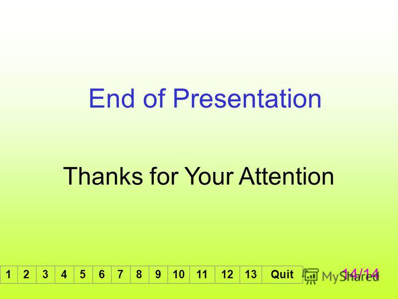 End of Presentation Thanks for Your Attention 14/14 12345678910111213Quit