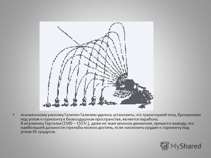 итальянскому ученому Галилео Галилею удалось установить, что траекторией тела, брошенного под углом к горизонту в безвоздушном пространстве, является парабола. А итальянец Тарталья (1500 – 1557 г.), даже не зная законов движения, пришел к выводу, что