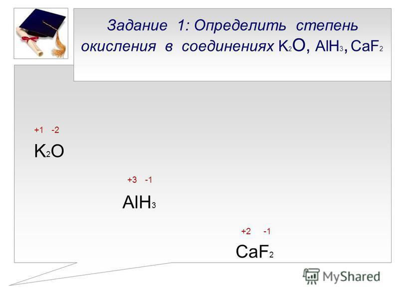 Задание 1: Определить степень окисления в соединениях K 2 О, AlH 3, CaF 2 +1 -2 K 2 O +3 -1 AlH 3 +2 -1 CaF 2