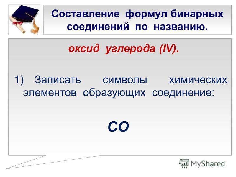 Составление формул бинарных соединений по названию. оксид углерода (IV). 1) Записать символы химических элементов образующих соединение: СО