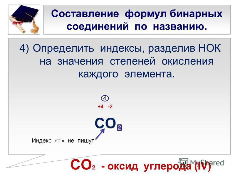 Составление формул бинарных соединений по названию. 4)Определить индексы, разделив НОК на значения степеней окисления каждого элемента. +4 -2 СО СО 2 - оксид углерода (IV) 4 2 Индекс «1» не пишут