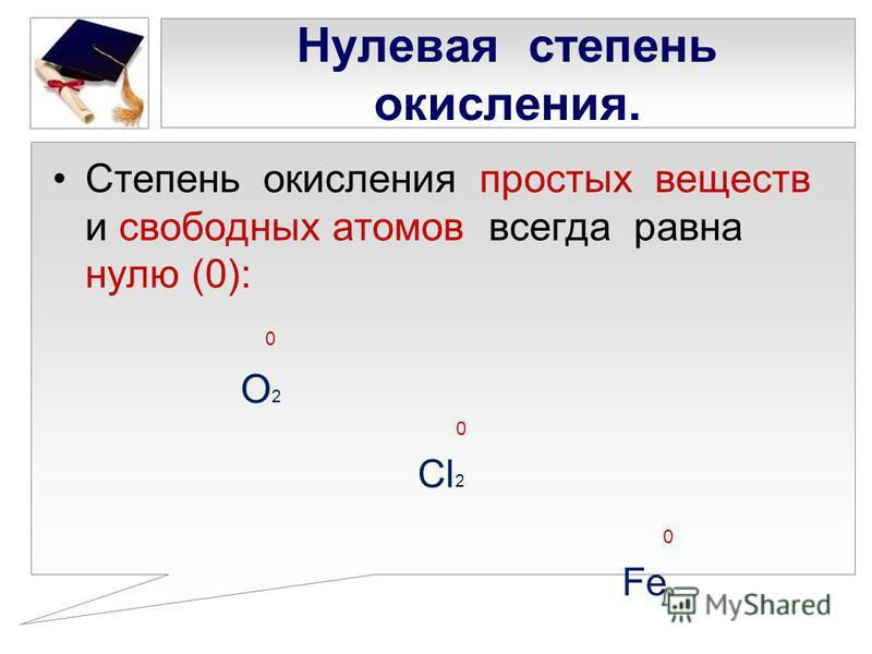 Нулевая степень окисления. Степень окисления простых веществ и свободных атомов всегда равна нулю (0): 0 О 2 0 Cl 2 0 Fe