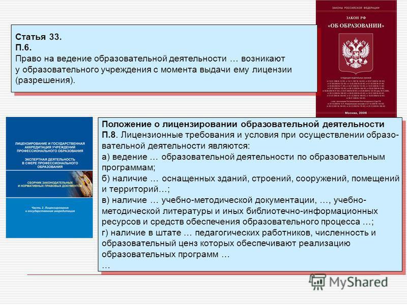 Статья 33. П.6. Право на ведение образовательной деятельности … возникают у образовательного учреждения с момента выдачи ему лицензии (разрешения). Статья 33. П.6. Право на ведение образовательной деятельности … возникают у образовательного учреждени