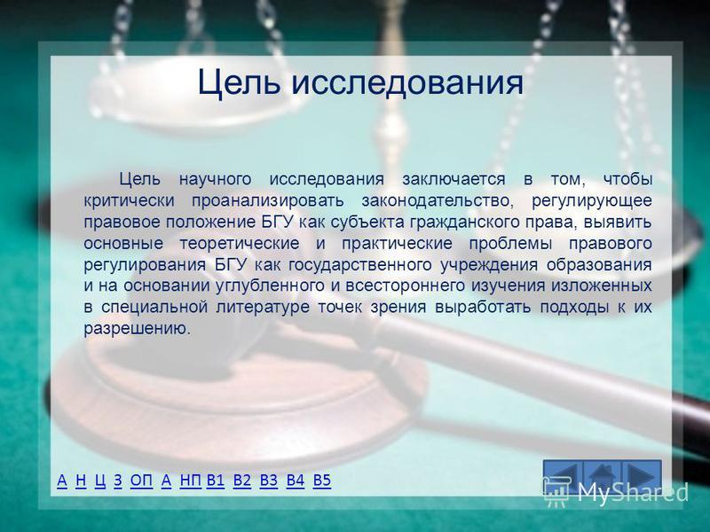АА Н Ц З ОП А НП В1 В2 В3 В4 В5НЦЗОПАНПВ1В2В3В4В5 Цель исследования Цель научного исследования заключается в том, чтобы критически проанализировать законодательство, регулирующее правовое положение БГУ как субъекта гражданского права, выявить основны