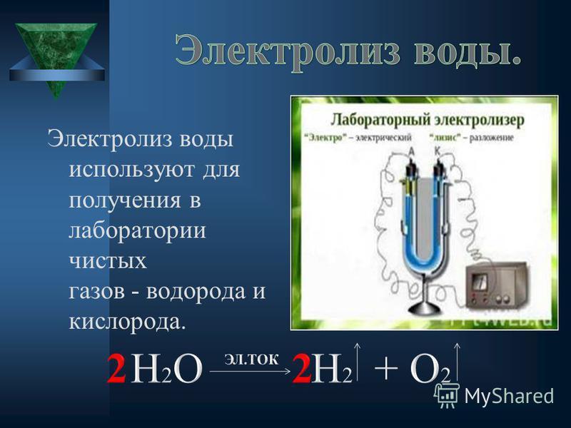 Электролиз воды используют для получения в лаборатории чистых газов водорода и кислорода.