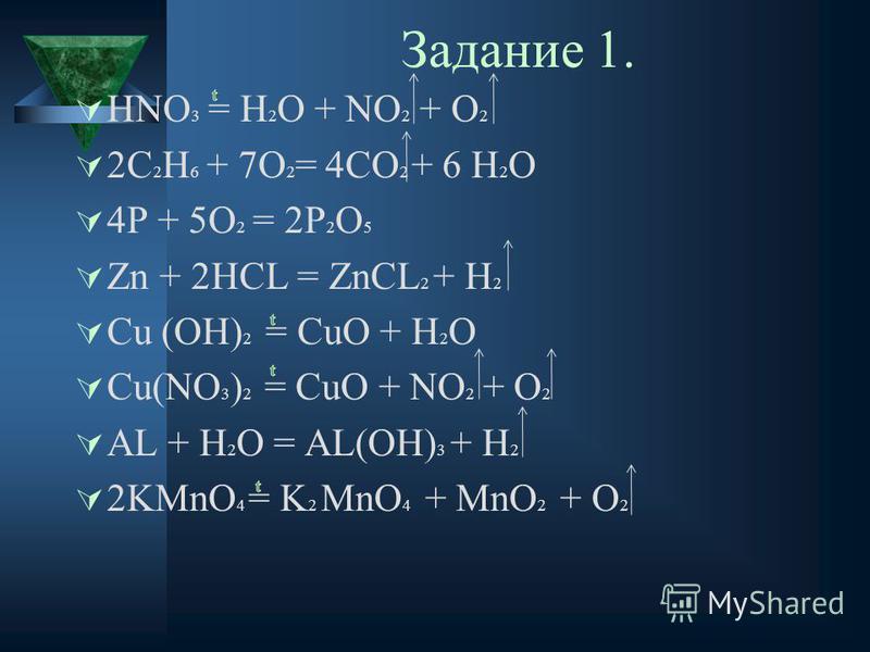 Задание 1. HNO 3 = H 2 O + NO 2 + O 2 2C 2 H 6 + 7O 2 = 4CO 2 + 6 H 2 O 4P + 5O 2 = 2P 2 O 5 Zn + 2HCL = ZnCL 2 + H 2 Cu (OH) 2 = CuO + H 2 O Cu(NO 3 ) 2 = CuO + NO 2 + O 2 AL + H 2 O = AL(OH) 3 + H 2 2KMnO 4 = K 2 MnO 4 + MnO 2 + O 2