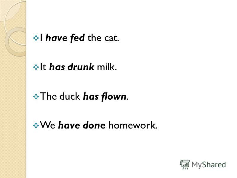 I have fed the cat. It has drunk milk. The duck has flown. We have done homework.