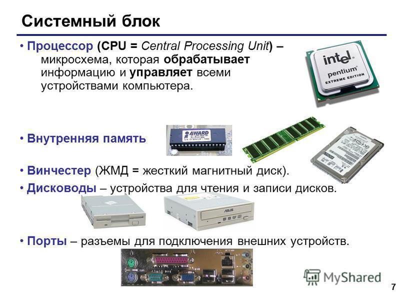 7 Системный блок Процессор (CPU = Central Processing Unit) – микросхема, которая обрабатывает информацию и управляет всеми устройствами компьютера. Внутренняя память Винчестер (ЖМД = жесткий магнитный диск). Дисководы – устройства для чтения и записи
