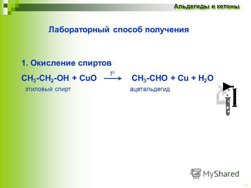 CEE Альдегиды и кетоны Лабораторный способ получения 1. Окисление спиртов СН 3 -СН 2 -ОН + CuO CH 3 -CHО + Cu + Н 2 О ацетальдегид этиловый спирт toto