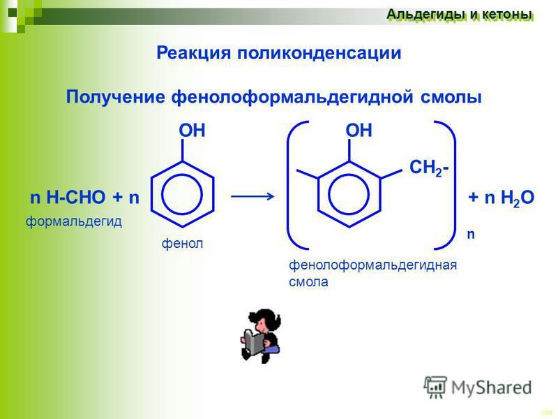CEE Альдегиды и кетоны Реакция поликонденсации Получение фенолоформальдегидной смолы ОН OH n Н-СНО + n + n H 2 O формальдегид фенол СH2-СH2- n фенолоформальдегидная смола