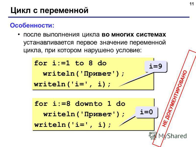 11 Цикл с переменной Особенности: после выполнения цикла во многих системах устанавливается первое значение переменной цикла, при котором нарушено условие: for i:=1 to 8 do writeln('Привет'); writeln('i=', i); for i:=1 to 8 do writeln('Привет'); writ