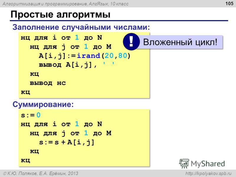 Алгоритмизация и программирование, Алг Язык, 10 класс К.Ю. Поляков, Е.А. Ерёмин, 2013 http://kpolyakov.spb.ru Простые алгоритмы 105 Заполнение случайными числами: нц для i от 1 до N нц для j от 1 до M A[i,j]:= irand(20,80) вывод A[i,j], ' ' кц вывод