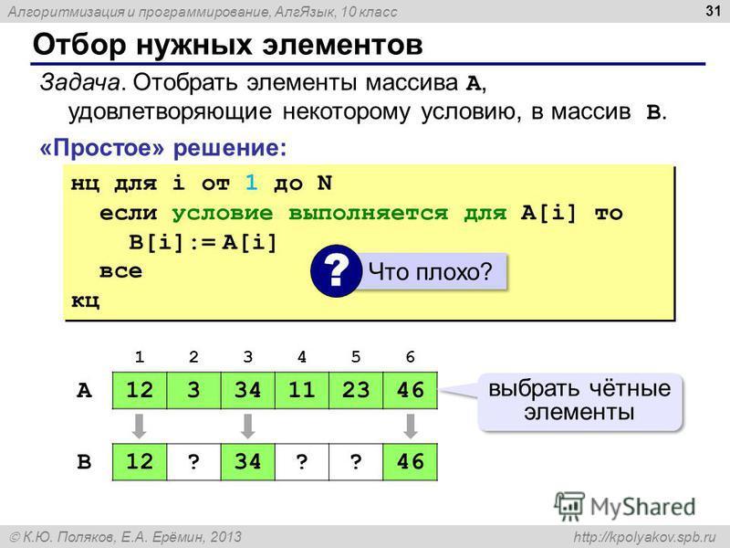 Алгоритмизация и программирование, Алг Язык, 10 класс К.Ю. Поляков, Е.А. Ерёмин, 2013 http://kpolyakov.spb.ru Отбор нужных элементов 31 «Простое» решение: Задача. Отобрать элементы массива A, удовлетворяющие некоторому условию, в массив B. нц для i о