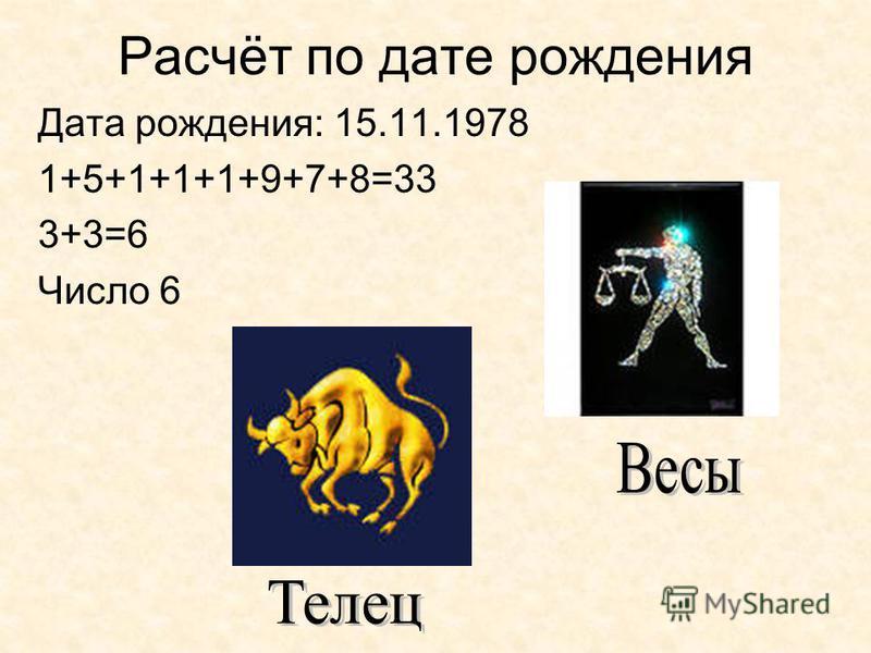 Расчёт по дате рождения Дата рождения: 15.11.1978 1+5+1+1+1+9+7+8=33 3+3=6 Число 6