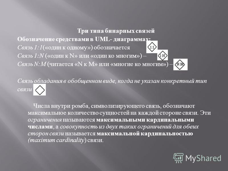 Три типа бинарных связей Обозначение средствами в UML - диаграммах : Связь 1:1 (« один к одному ») обозначается Связь 1:N (« один к N» или « один ко многим ») – Связь N:M ( читается «N к М » или « многие ко многим ») – Связь обладания в обобщенном ви