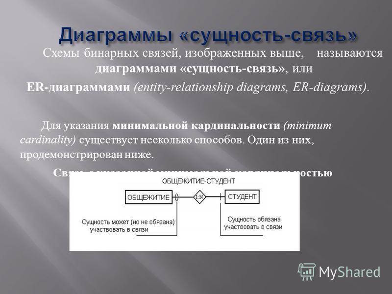 Схемы бинарных связей, изображенных выше, называются диаграммами « сущность - связь », или ER- диаграммами (entity-relationship diagrams, ER-diagrams). Для указания минимальной кардинальности (minimum cardinality) существует несколько способов. Один
