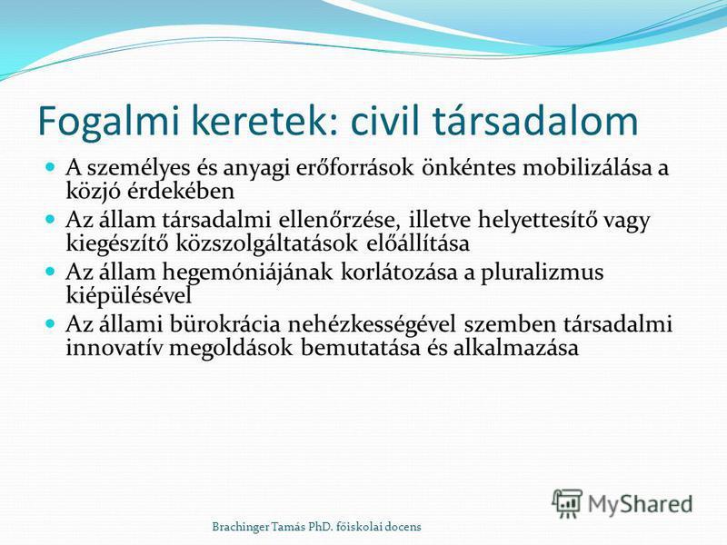 Fogalmi keretek: civil társadalom A személyes és anyagi erőforrások önkéntes mobilizálása a közjó érdekében Az állam társadalmi ellenőrzése, illetve helyettesítő vagy kiegészítő közszolgáltatások előállítása Az állam hegemóniájának korlátozása a plur