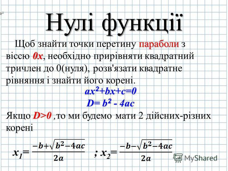 Нулі функції Щоб знайти точки перетину п пп параболи з віссю 0 00 0х, необхідно прирівняти квадратний тричлен до 0(нуля), розв'язати квадратне рівняння і знайти його корені. ax2+bx+c=0 D= b2 - 4ac Якщо D DD D>0,то ми будемо мати 2 дійсних-різних коре
