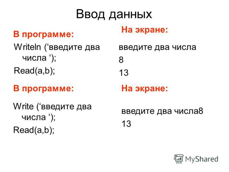 Ввод данных Writeln (введите два числа ); Read(a,b); введите два числа 8 13 В программе: На экране: В программе:На экране: Write (введите два числа ); Read(a,b); введите два числа 8 13