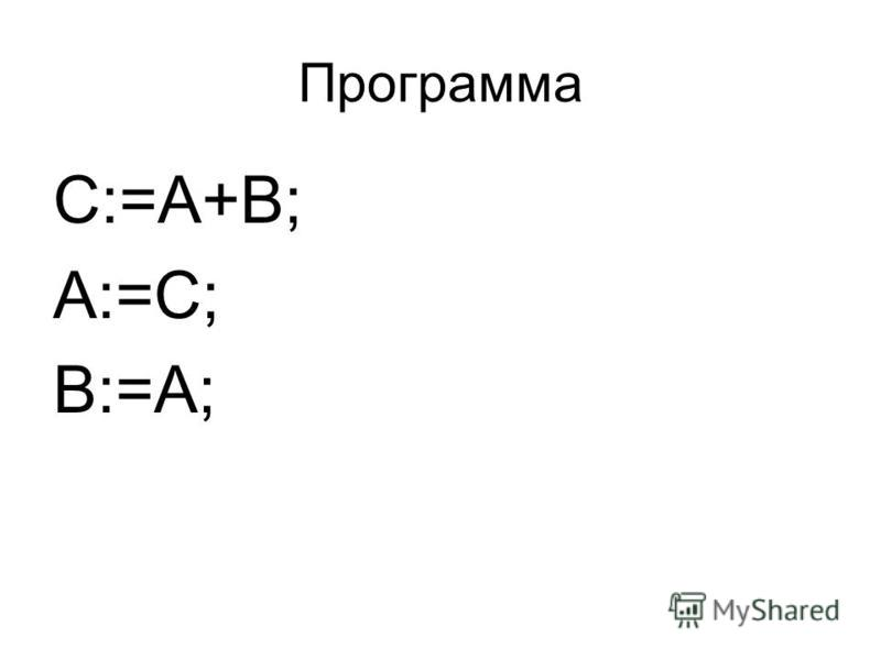 Программа C:=A+B; A:=C; B:=A;