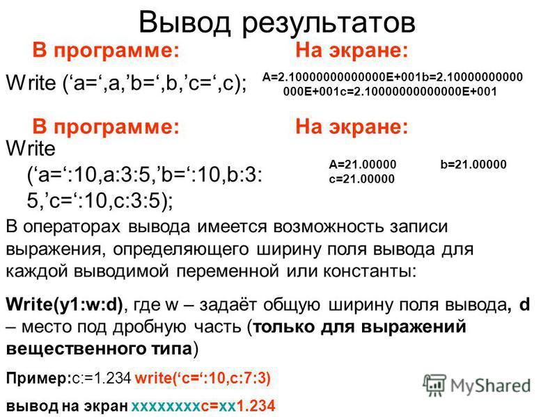 Вывод результатов Write (a=,a,b=,b,c=,c); A=2.10000000000000E+001b=2.10000000000 000E+001c=2.10000000000000E+001 В программе:На экране: В программе:На экране: Write (a=:10,a:3:5,b=:10,b:3: 5,c=:10,c:3:5); A=21.00000b=21.00000 c=21.00000 В операторах