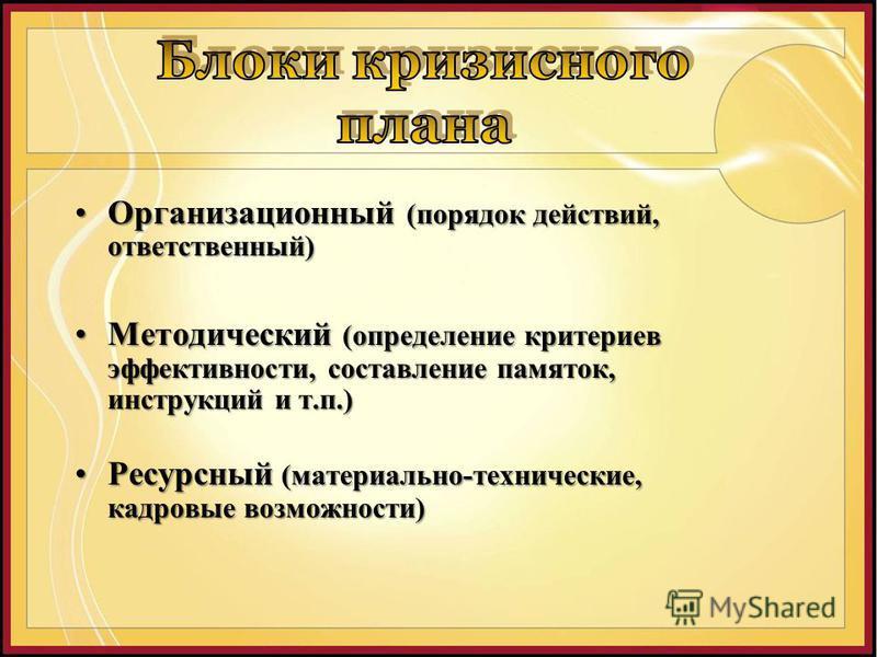 Организационный (порядок действий, ответственный)Организационный (порядок действий, ответственный) Методический (определение критериев эффективности, составление памяток, инструкций и т.п.)Методический (определение критериев эффективности, составлени
