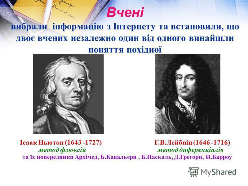 Вчені вибрали інформацію з Інтернету та встановили, що двоє вчених незалежно один від одного винайшли поняття похідної Ісаак Ньютон (1643 -1727) Г.В.Лейбніц (1646 -1716) метод флюксій метод диференціалів та їх попередники Архімед, Б.Кавальєри, Б.Паск