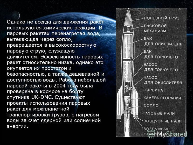 Однако не всегда для движения ракет используются химические реакции. В паровых ракетах перенагретая вода, вытекающая через сопло, превращается в высокоскоростную паровую струю, служащую движителем. Эффективность паровых ракет относительно низка, одна