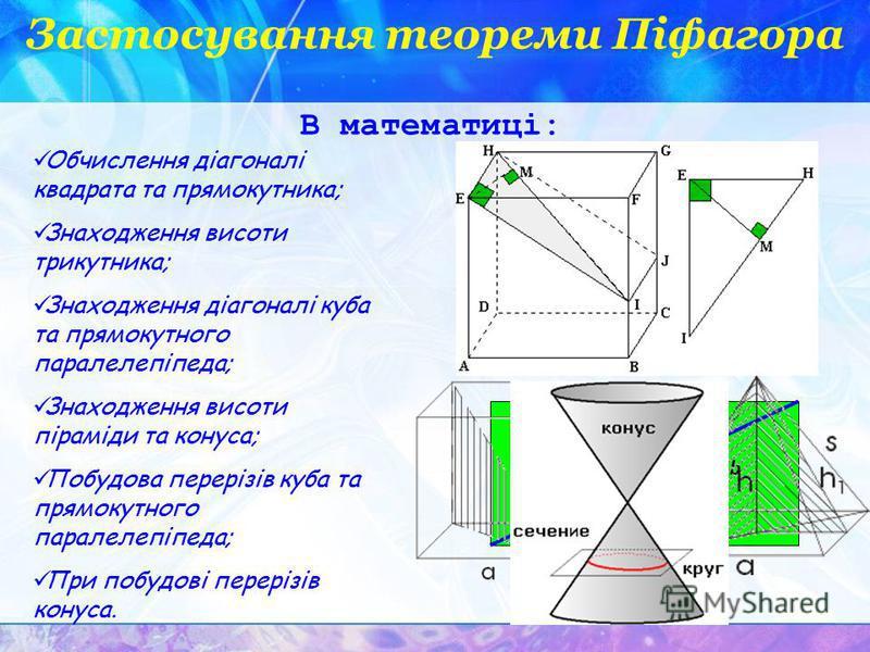Застосування теореми Піфагора Обчислення діагоналі квадрата та прямокутника; Знаходження висоти трикутника; Знаходження діагоналі куба та прямокутного паралелепіпеда; Знаходження висоти піраміди та конуса; Побудова перерізів куба та прямокутного пара