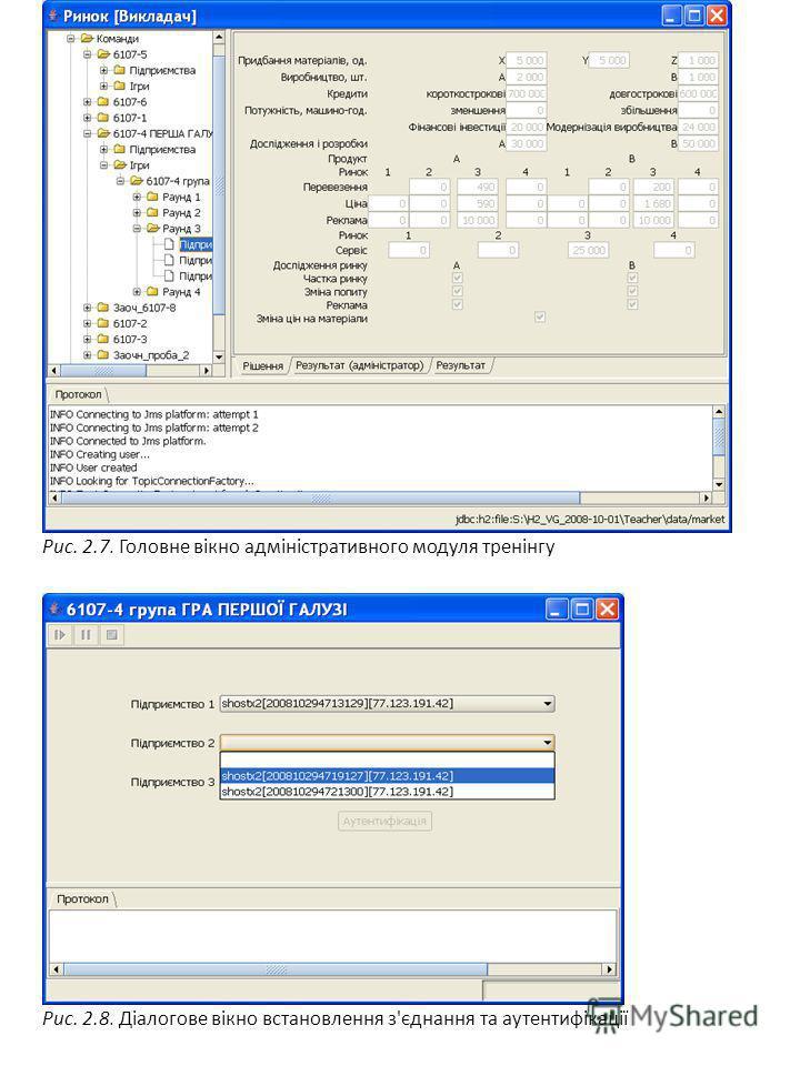 Рис. 2.7. Головне вікно адміністративного модуля тренінгу Рис. 2.8. Діалогове вікно встановлення з'єднання та аутентифікації