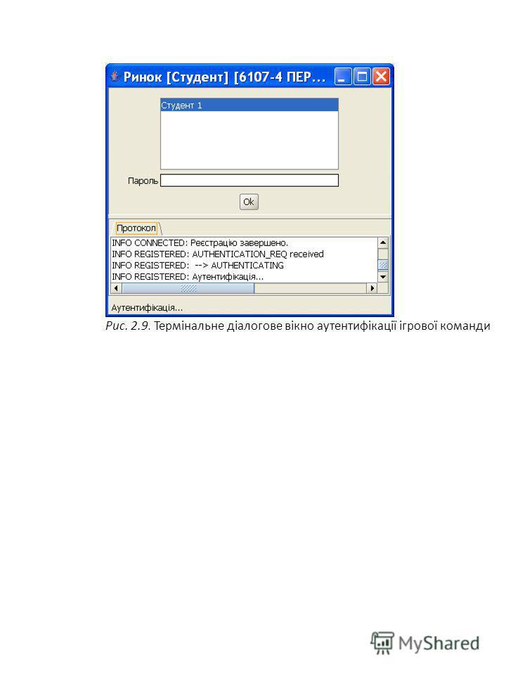 Рис. 2.9. Термінальне діалогове вікно аутентифікації ігрової команди