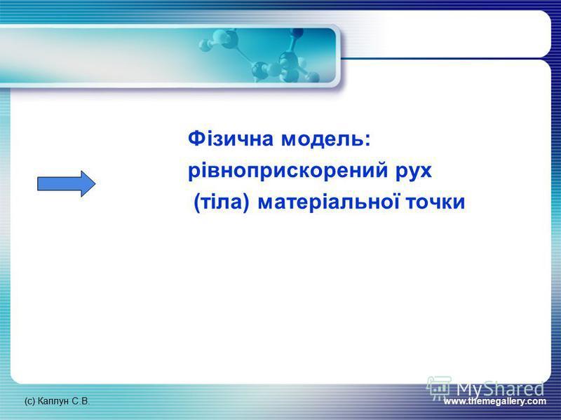 (с) Каплун С.В.www.themegallery.com Фізична модель: рівноприскорений рух (тіла) матеріальної точки