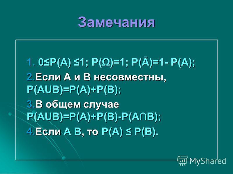 Замечания 1. 0P(A) 1; P()=1; P(Ā)=1- P(A); 1. 0P(A) 1; P()=1; P(Ā)=1- P(A); 2. Если A и B несовместны, P(AUB)=P(A)+P(B); 2. Если A и B несовместны, P(AUB)=P(A)+P(B); 3. В общем случае P(AUB)=P(A)+P(B)-P(AB); 3. В общем случае P(AUB)=P(A)+P(B)-P(AB);