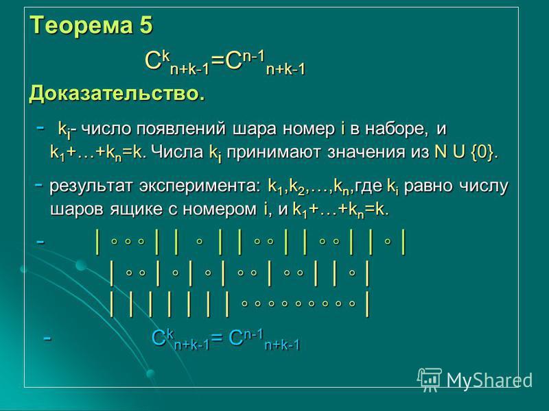 Теорема 5 Ckn+k-1=Cn-1n+k-1 Доказательство. - k k k ki- число появлений шара номер i в наборе, и k1+…+kn=k. Числа ki принимают значения из N U {0}. - результат эксперимента: k1,k2,…,kn,где ki равно числу шаров ящике с номером i, и k1+…+kn=k. - - Ckn+