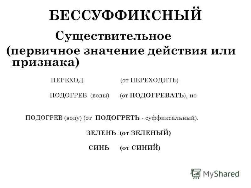 БЕССУФФИКСНЫЙ Существительное (первичное значпение действия или признака) ПЕРЕХОД (от ПЕРЕХОДИТЬ) ПОДОГРЕВ (воды) (от ПОДОГРЕВАТЬ ), но ПОДОГРЕВ (воду) (от ПОДОГРЕТЬ - суффиксальный). ЗЕЛЕНЬ (от ЗЕЛЕНЫЙ) СИНЬ (от СИНИЙ)