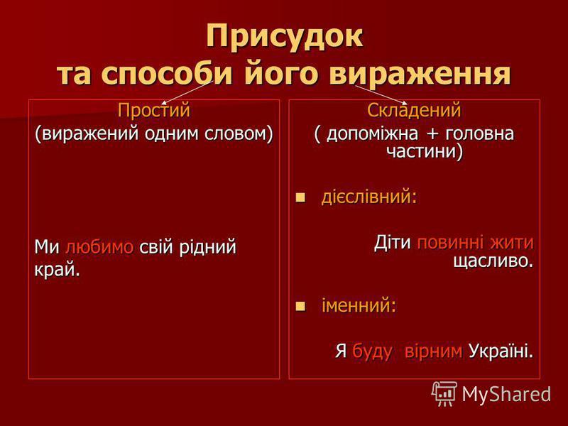 Присудок та способи його вираження Простий (виражений одним словом) Ми любимо свій рідний край.Складений ( допоміжна + головна частини) дієслівний: дієслівний: Діти повинні жити щасливо. іменний: іменний: Я буду вірним Україні.