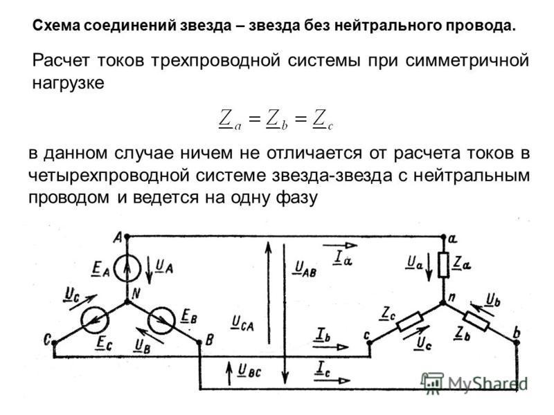 Схема соединений звезда – звезда без нейтрального провода. Расчет токов трехпроводной системы при симметричной нагрузке в данном случае ничем не отличается от расчета токов в четырехпроводной системе звезда-звезда с нейтральным проводом и ведется на