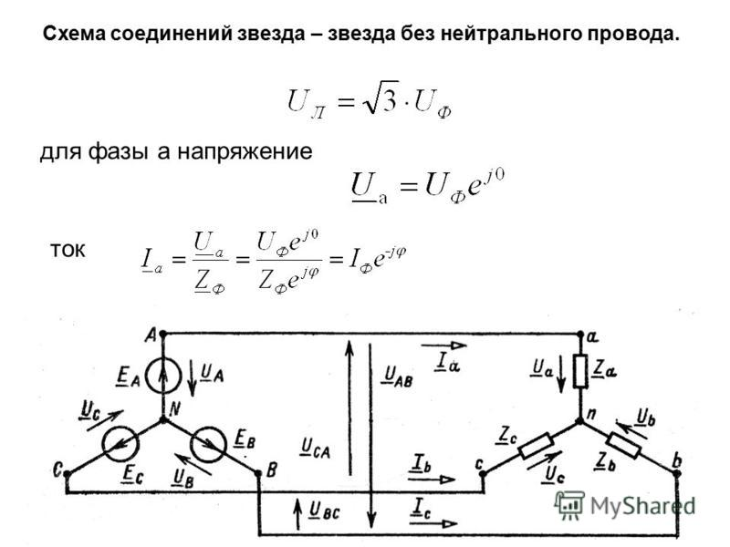 Схема соединений звезда – звезда без нейтрального провода. для фазы а напряжение ток