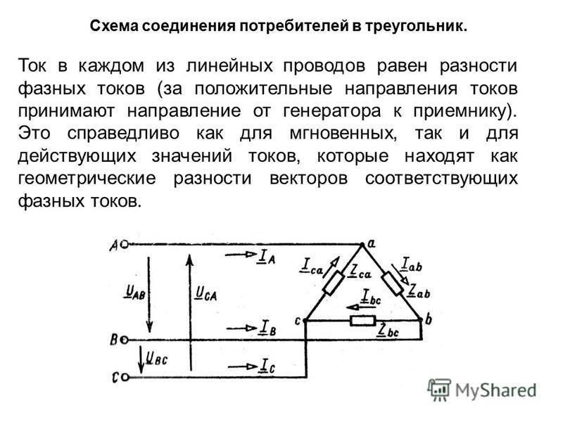 Схема соединения потребителей в треугольник. Ток в каждом из линейных проводов равен разности фазных токов (за положительные направления токов принимают направление от генератора к приемнику). Это справедливо как для мгновенных, так и для действующих