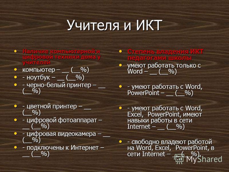 Учителя и ИКТ Наличие компьютерной и цифровой техники дома у учителей Наличие компьютерной и цифровой техники дома у учителей компьютер – __ (__%) компьютер – __ (__%) - ноутбук – __ (__%) - ноутбук – __ (__%) - черно-белый принтер – __ (__%) - черно